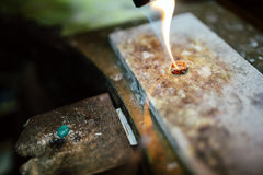 Goldsmith working on a ring Stock Photo