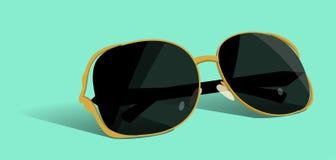 Goldsonnenbrille Flache Illustration des Vektors stock abbildung