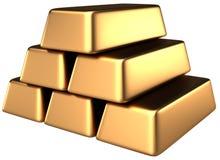 Goldstäbe 3d Stockfoto
