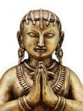 Goldstatue der indischen Frau mit den betenden Händen Lizenzfreies Stockfoto