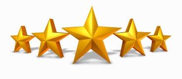 Goldsternbewertung mit fünf goldenen Sternen Stockbild