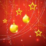 Goldsterne und Weihnachtskugelfeiertagshintergrund. Stockfotografie