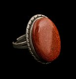 Goldstone ring Stock Photography