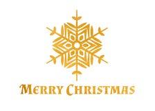 Goldstrukturierte Schneeflocke und -text frohe Weihnachten Lizenzfreie Stockfotos