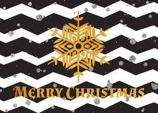 Goldstrukturierte Schneeflocke und -text frohe Weihnachten Stockfotografie