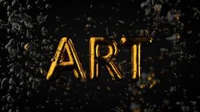 Goldstrukturierter Text Art With Liquid Drops, schwarzer Hintergrund Lizenzfreies Stockfoto