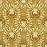 Goldstrukturiertes nahtloses Muster 3d Vektor goldenes kopiertes vinta Stockfotos