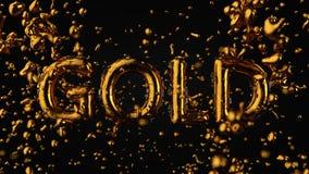 Goldstrukturiertes Text-Gold mit flüssigen Tropfen, schwarzer Hintergrund Stockfotos