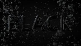 Goldstrukturiertes Text-Schwarzes mit flüssigen Tropfen, schwarzer Hintergrund Stockfotografie