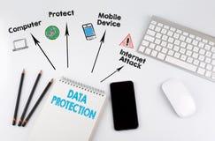 Goldtext auf dunklem Hintergrund Schreibtischtabelle mit Computer, Smartphone, Notizblock, Bleistifte Stockfotografie