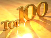 Goldtext der Oberseiten-100 Lizenzfreie Stockfotos