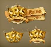 Goldtheater maskiert Ikonen Stockfotos