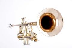 Goldtrompete getrennt auf Weiß lizenzfreies stockbild