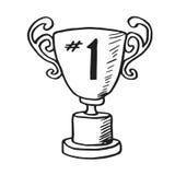 Goldtrophäen-Hand gezeichnete Vektor-Gekritzel-Illustration für den ersten Sieger Stockbilder