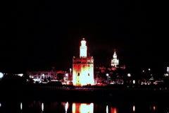 GOLDturm LA TORRE DEL ORO THE BIS ZUM NACHT IN SEVILLA, SPANIEN Stockfotografie