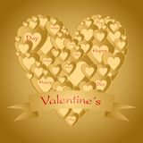 Goldvalentinsgrußgruß mit einem Herzen bestanden aus kleinen Goldherzen mit Band mit roter Beschriftung auf Valentinsgrüßen eines vektor abbildung