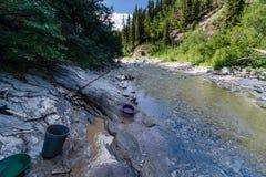 Goldverschieben in der Alaska-Kette Stockbild