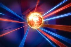 Goldvolleyball in farbigen Linien Illustration eines Symbols des Volleyball stock abbildung