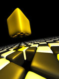 Goldwürfel alleine über vielen anonymen Würfeln Lizenzfreies Stockbild