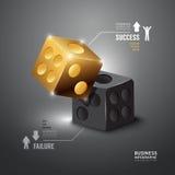 Goldwürfel Infographic-Schablone Geschäfts-Konzept-Vektor Stockfoto
