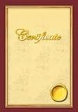 Goldwaagerecht ausgerichtete Bescheinigungsschablone Stockfoto