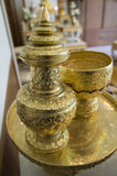 Goldware antique container craft gold household utensil concept Stock Photography