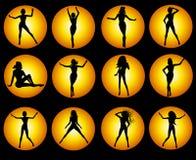 Goldweibliche Schattenbild-Ikonen auf Schwarzem Lizenzfreie Stockfotos