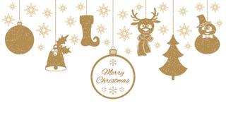 Goldweihnachtsanhänger eine Glocke mit Stechpalme, Ball, Tannenbaum, ein Rotwild im Schal Lizenzfreie Stockbilder