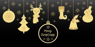 Goldweihnachtsanhänger eine Glocke mit Stechpalme, Ball, Tannenbaum mit Schneeflocken, ein Rotwild im Schal, Schneemann in einem  Lizenzfreie Stockbilder