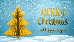 Goldweihnachtsbaum Grußmitteilung froher Weihnachten und guten Rutsch ins Neue Jahr auf Englisch auf blauem Hintergrund, Schneefl stockfoto