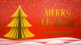 Goldweihnachtsbaum Grußmitteilung froher Weihnachten und guten Rutsch ins Neue Jahr auf Englisch auf rotem Hintergrund, Schneeflo lizenzfreie stockfotografie
