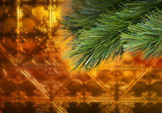 Goldweihnachtsbaum-Hintergrund Lizenzfreies Stockbild