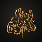 Goldweihnachtsbeschriftung Stockbild
