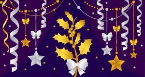 Goldweihnachtsdekorationen auf einer purpurroten Hintergrundvektorillustration stock abbildung