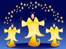 Goldweihnachtsengel und -sterne Lizenzfreies Stockbild
