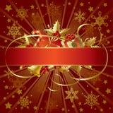 Goldweihnachtsfahne Lizenzfreies Stockfoto