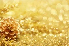 Goldweihnachtshintergrund Lizenzfreie Stockfotos