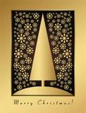 Goldweihnachtskarte mit Sylvesterabend- und -verzierung Lizenzfreie Stockfotos