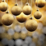 Goldweihnachtskugeln Lizenzfreies Stockbild
