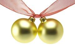 Goldweihnachtskugeln Stockfoto