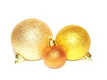 Goldweihnachtskugeln Stockfotografie