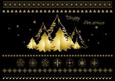 Goldweihnachtssymbole, Schneeflocken, Weihnachtsbäume, Grenzen und Grüße Lizenzfreies Stockbild