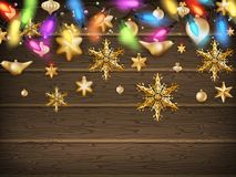 Goldweihnachtsverzierungsbälle mit Stern ENV 10 Stockfoto