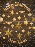 Goldweihnachtsverzierungsbälle mit Stern ENV 10 Lizenzfreie Stockfotografie