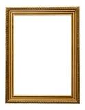 Goldweinlese-Bilderrahmen lokalisiert auf weißem Hintergrund stockfotos