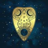 Goldweissagungs-Brett planchette über dem blauen Himmel und den Sternen Antikes Art boho schickes Aufkleber- oder Gewebedruckdesi lizenzfreie abbildung