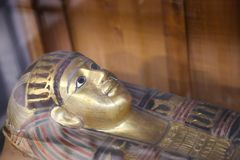 Goldy coffin for Queen - Egyptian museum. Cairo, Egypt Jan. 2018 Ancient gold and silver antiquities - Egyptian museum Royalty Free Stock Photo