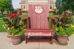 Goldy Gopher Mascot Chair on Mall of University of Minnesota Stock Photos