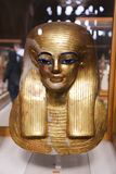 Goldy Mask at Egyptian museum. Cairo, Egypt Jan. 2018 Ancient gold and silver antiquities - Egyptian museum Royalty Free Stock Photos