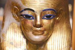 Goldy masks at Egyptian museum. Cairo, Egypt Jan. 2018 Ancient gold and silver antiquities - Egyptian museum Royalty Free Stock Photo